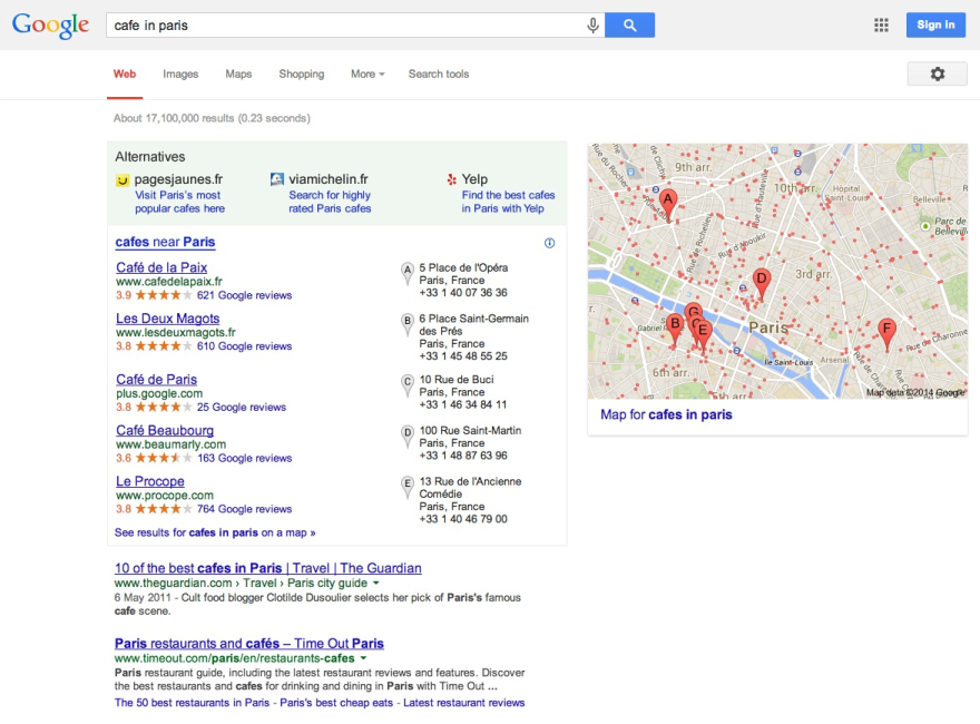 How Google local search will look in the future.