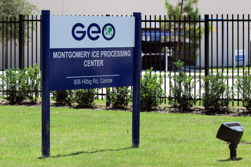 The Montgomery Processing Center, run by the private prison company GeoGroup, holds detained immigrants in Conroe, Texas.