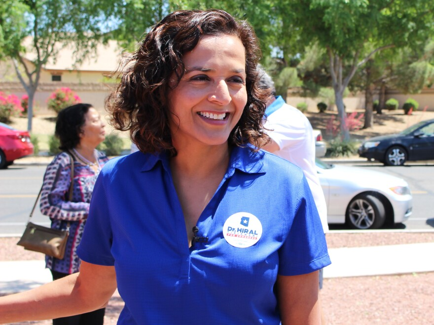 Democratic candidate Hiral Tipirneni campaigns in Arizona's 8th Congressional District northwest of Phoenix. Tipirneni faces Republican Debbie Lesko in a special election next week.