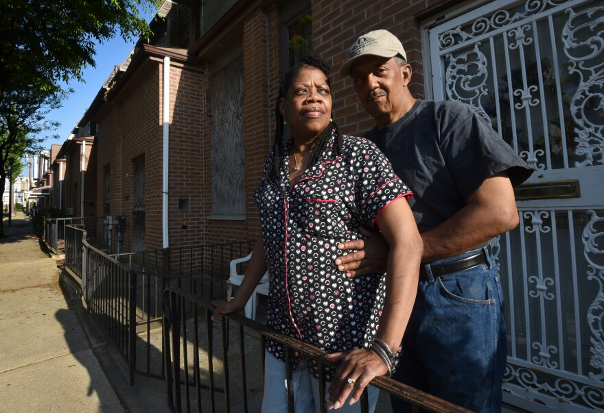 Connie and Gerald Renfrow outside their Osage Avenue home.