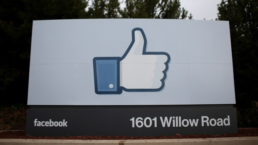 A sign in front of the Facebook headquarters in Menlo Park, Calif.