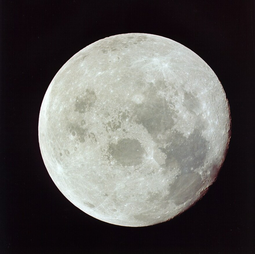 The moon as photographed by Apollo 11 astronauts on their way back to Earth.