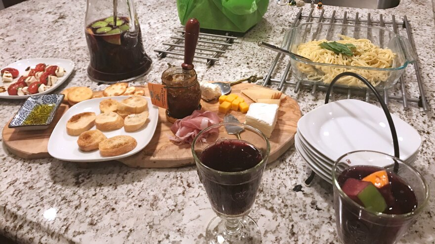 Our thank you feast started with a cheese board and sangria.