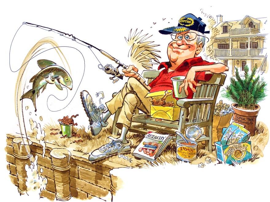 A cartoon of artist Jack Davis fishing