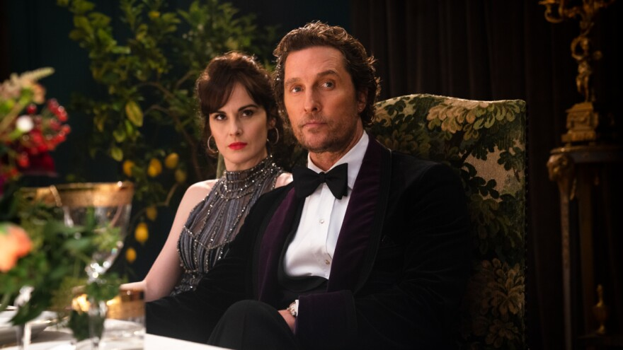 Rosalind (Michelle Dockery) and Mickey (Matthew McConaughey) in <em>The Gentlemen</em>.