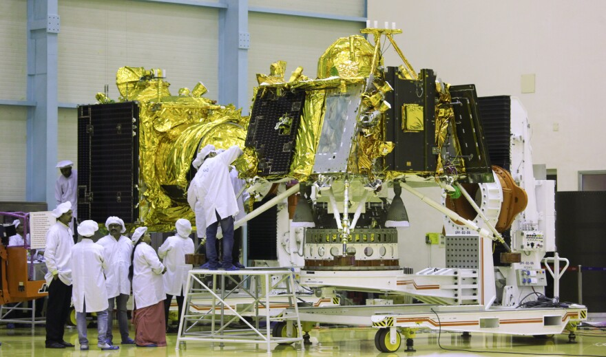 Chandrayaan-2 lander Vikram in the foreground and the mission's orbiter in the background at the Indian Space Research Organisation in Bengaluru. The mission, due to launch this month, will be the first time India is attempting a soft landing on the moon.