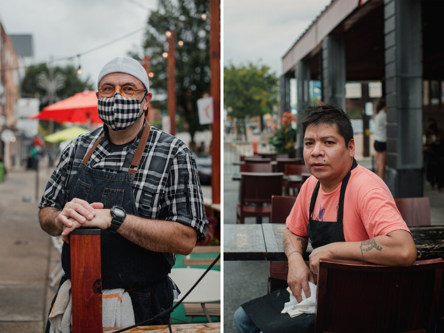 Left: Owner and chef of Flannel, Marc Grika, stands by his restaurant. Right: Co-owner and chef of Pistolas Del Sur, Adan Trinidad, poses outside his restaurant. Having extra tables has helped keep business owners afloat during really tough times.