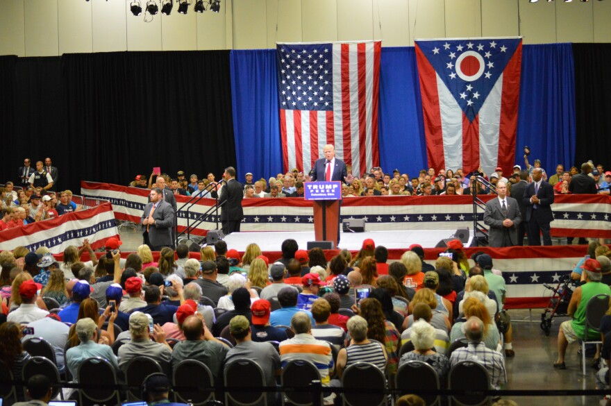 a photo of a Trump campaign rally in 2016