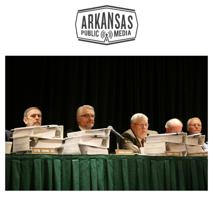 Members of the Arkansas State Plant Board hear public comments before voting in favor of the Dicamba ban.