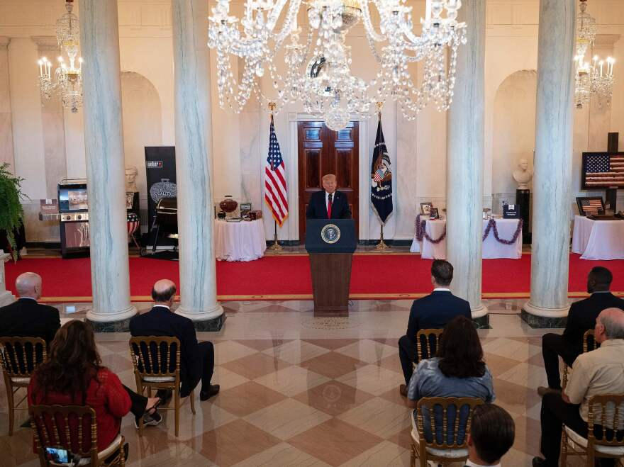 President Trump speaks at a Spirit of America showcase event to spotlight small businesses at the White House Thursday.