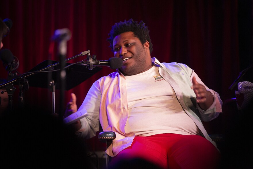 Larry Owens appears on <em>Ask Me Another</em> at the Bell House in Brooklyn, New York.
