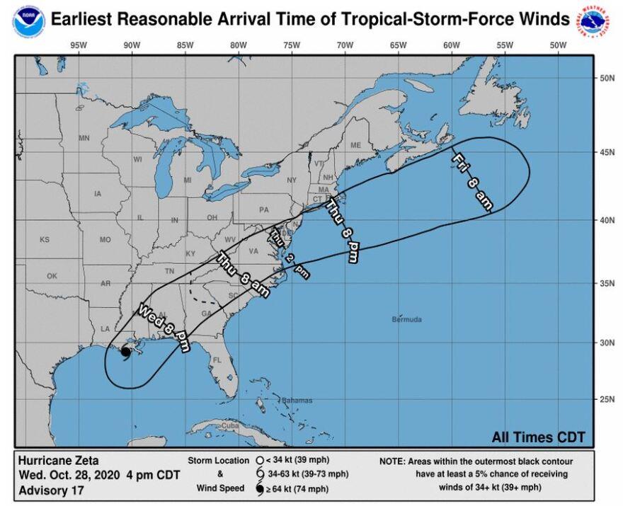 Hurricane Zeta tropical storm winds forecast