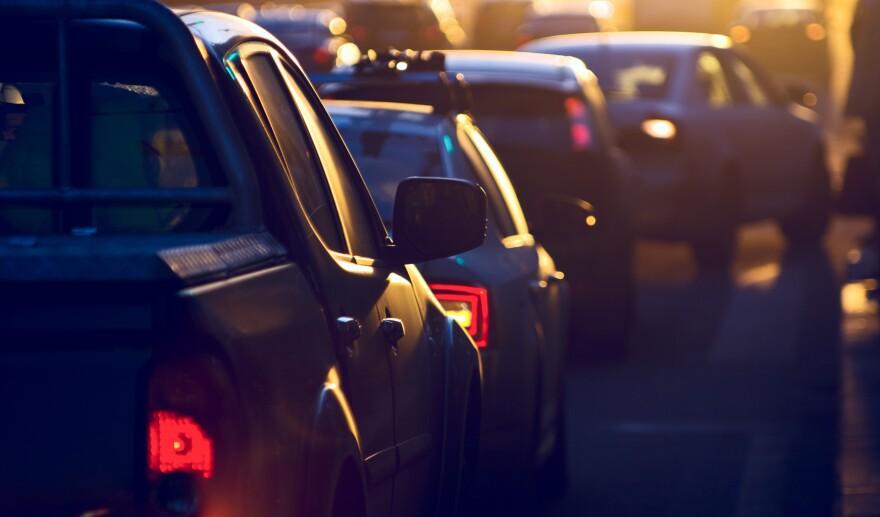 City traffic jam, traffic, heavy traffic