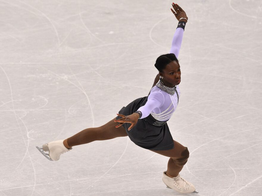 France's Mae Berenice Meite competes in figure skating on Friday.