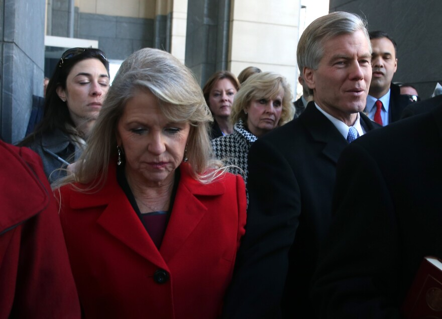 Former Virginia Gov. Bob McDonnell and his wife, Maureen, leave the U.S. District Court for the Eastern District of Virginia, on Friday in Richmond, Virginia.