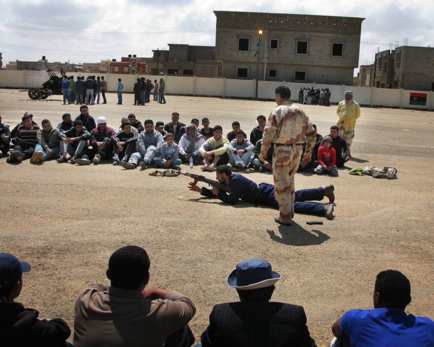 Veteran Libyan soldiers who defected to the rebel side teach volunteers the basics of mortars, machine guns, small rockets and anti-aircraft artillery.