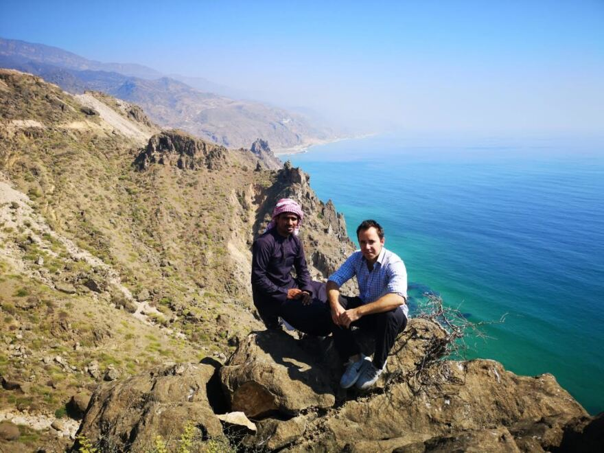 Goodwin in Yemen in January 2019 with his Omani fixer, Azam Almhry.