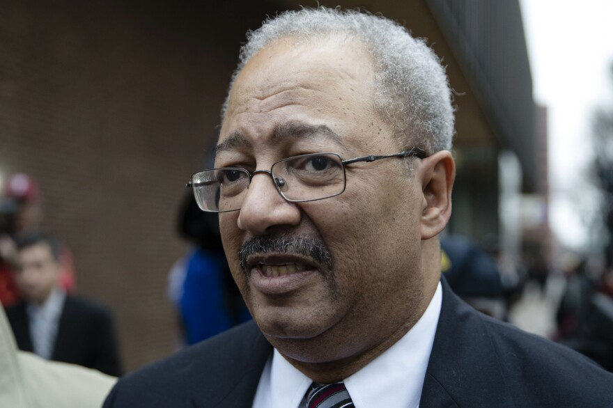 Former Rep. Chaka Fattah, D-Pa., walks from the federal courthouse on Monday after his sentencing hearing in Philadelphia.