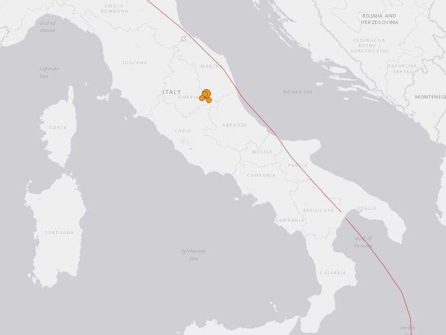 A U.S. Geological Survey map shows the location of a cluster of earthquakes that have hit Italy's Umbria region in the past week.