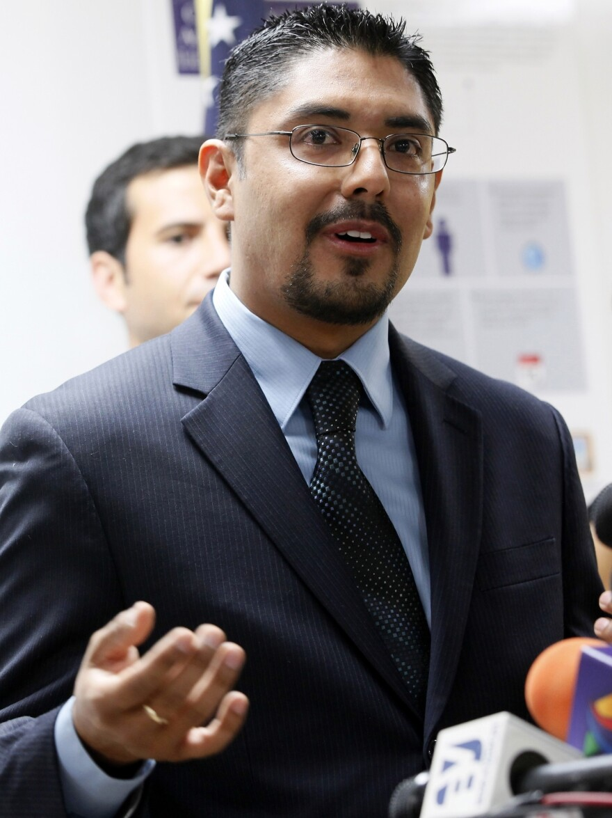 Sergio Garcia speaks at The Coalition for Humane Immigrant Rights of Los Angeles (CHIRLA) news conference in August. Garcia, 36, is a law school graduate who passed California's bar examination, but he's living in the U.S. illegally.