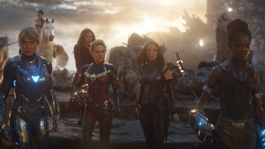 "Though women superheroes play big roles in <em>Avengers: Endgame</em>, a ""defeminized"" fan edit of the movie minimizes screen time for most of them. It completely cuts out all scenes with Captain Marvel (Brie Larson, center left)."