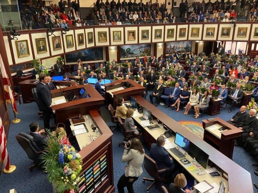 Overhead view of Florida Legislature during the 2020 session