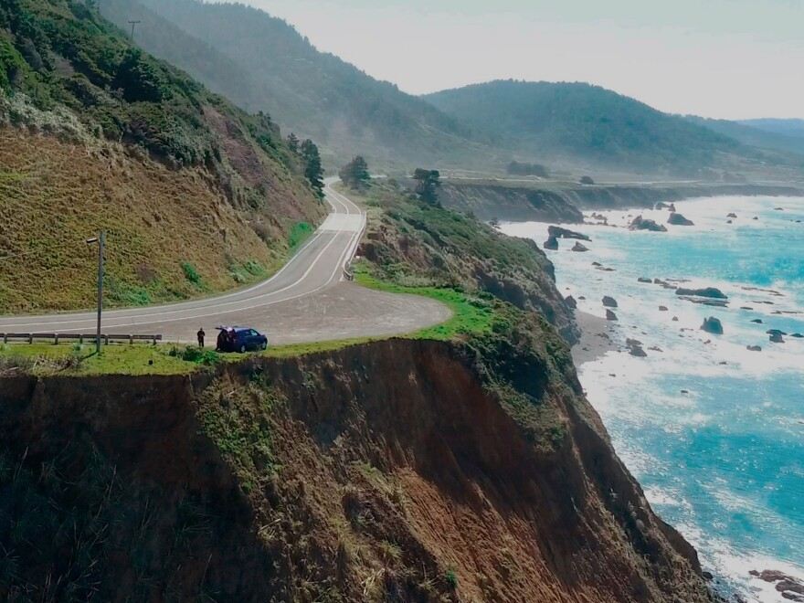 A coroner's jury has said Jennifer and Sarah Hart purposefully drove themselves and their six children off a cliff in northern California last year. Pictured here, the pullout along Highway 1 where their SUV was recovered.