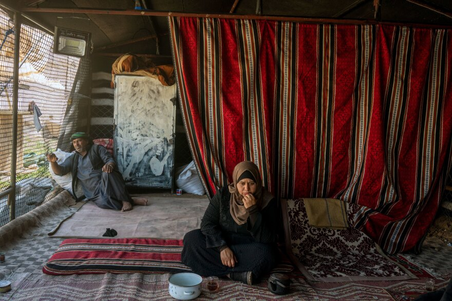 Suleiman Mohammad and his wife, Azziza Ali, live in a tent after they were unable to pay the rent on their home since the lockdown affected their work in the tourism industry.