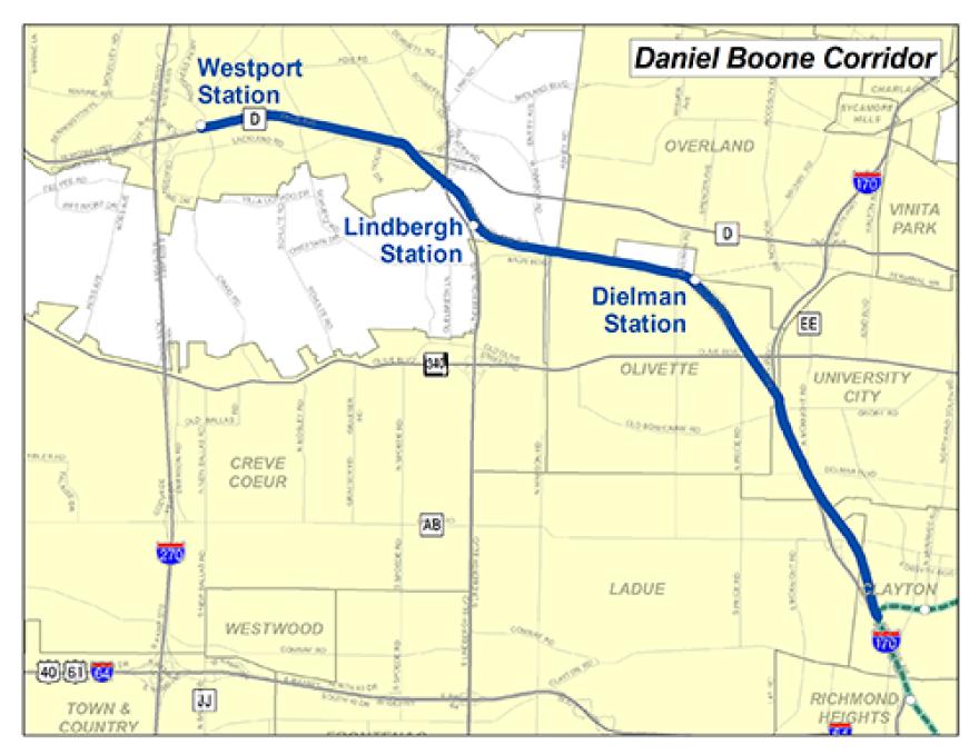 St. Louis County's western light rail option.
