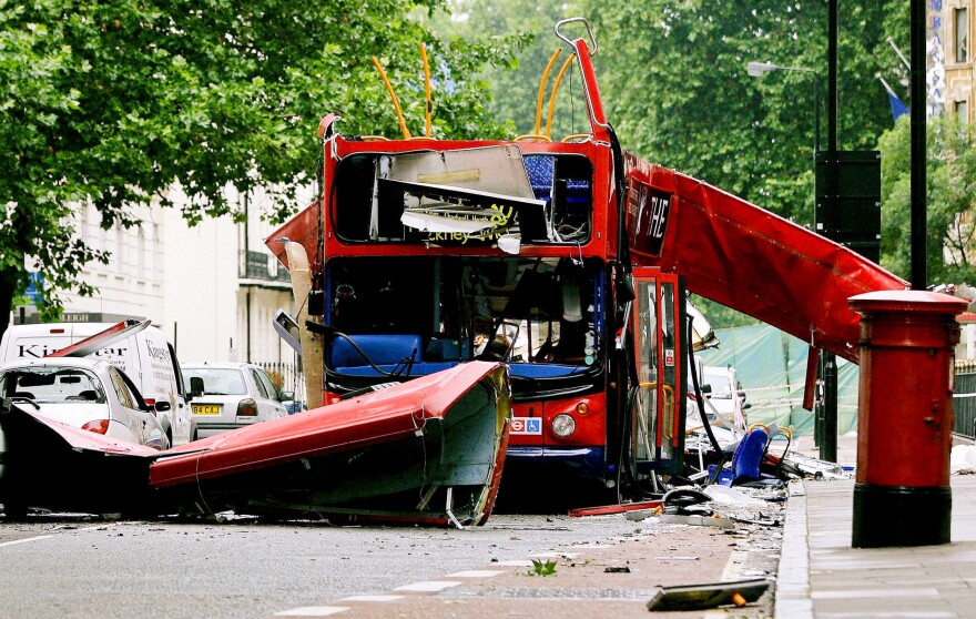 The wreck of a double-decker bus in central London on July 8, 2005, one day after a series of terrorist attacks on public transportation killed more than 50 people and injured more than 700.