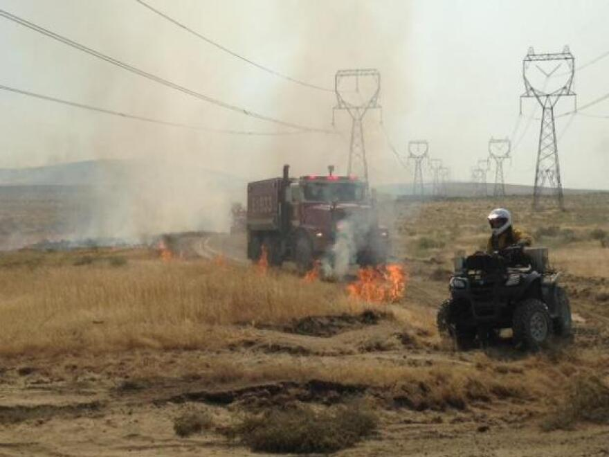 Burnout operations near Powerline Road on the Range 12 Fire near the Tri-Cities, Washington.
