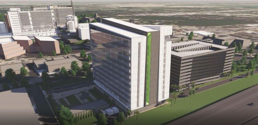 An artist's rendering of the new 12-story AdventHealth Rothman Orthopaedic Institute in downtown Orlando, slated to open in 2022.