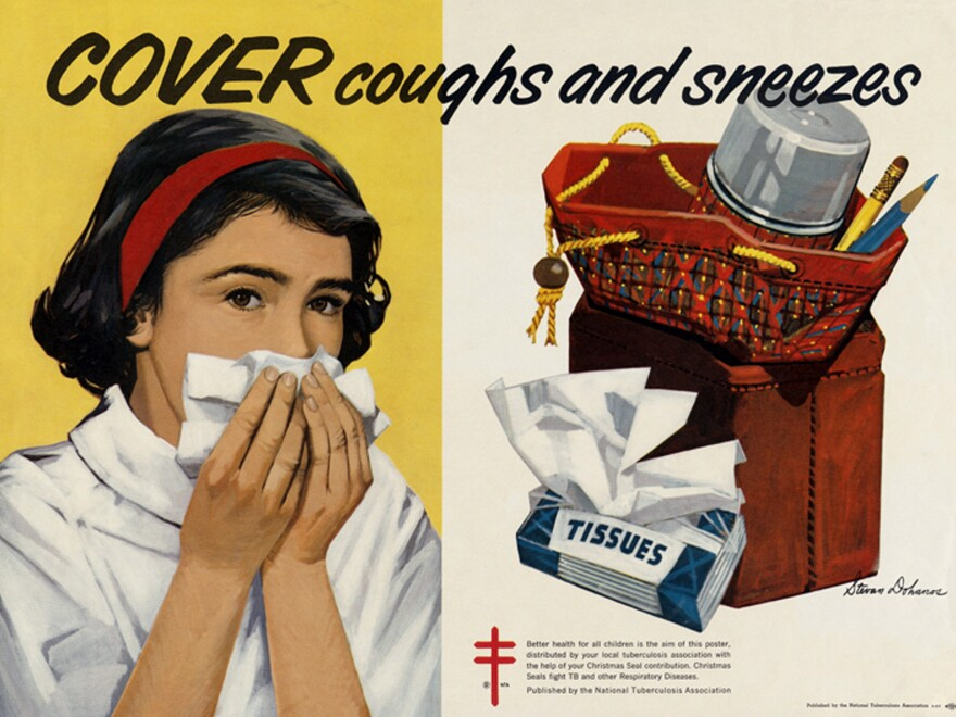 A 1960s health poster from the National Tuberculosis Association indicates that TB was still a problem in the U.S. in that decade.