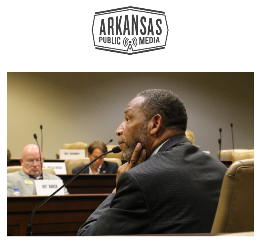 Arkansas Board of Corrections member Rev. Tyrone Broomfield listens to questions from members of the state Charitable, Penal and Correctional Institutions legislative subcommittee.