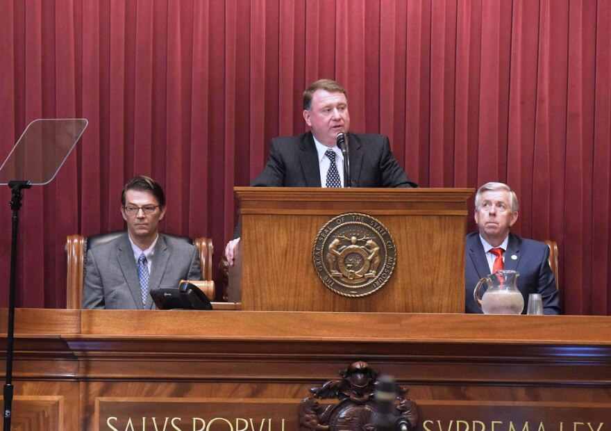 Speaker of the House Todd Richardson (L) and Lt. Gov. Mike Parson (R) listen as Chief Justice Zel Fischer delivers his State of the Judiciary address on January 24, 2018.