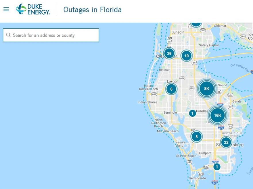 Duke Energy power outage map of Florida