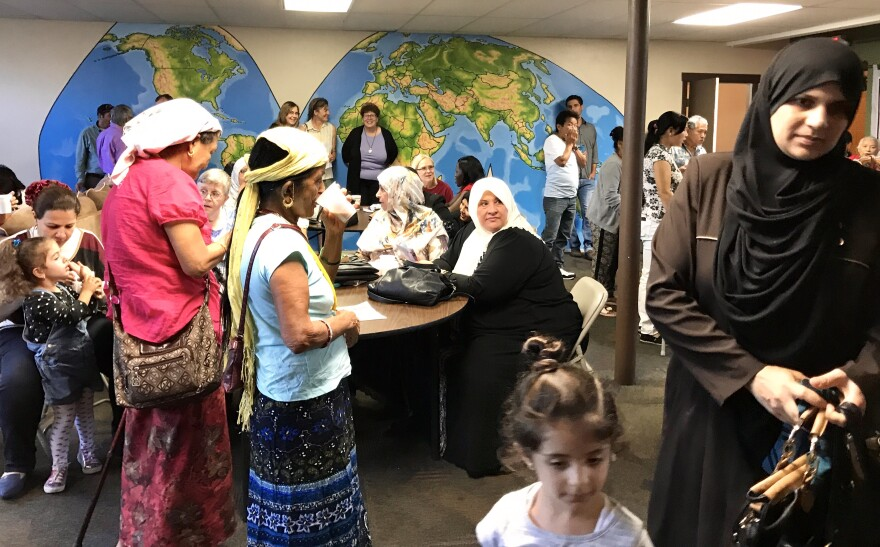 Refugees in church basement in Cleveland