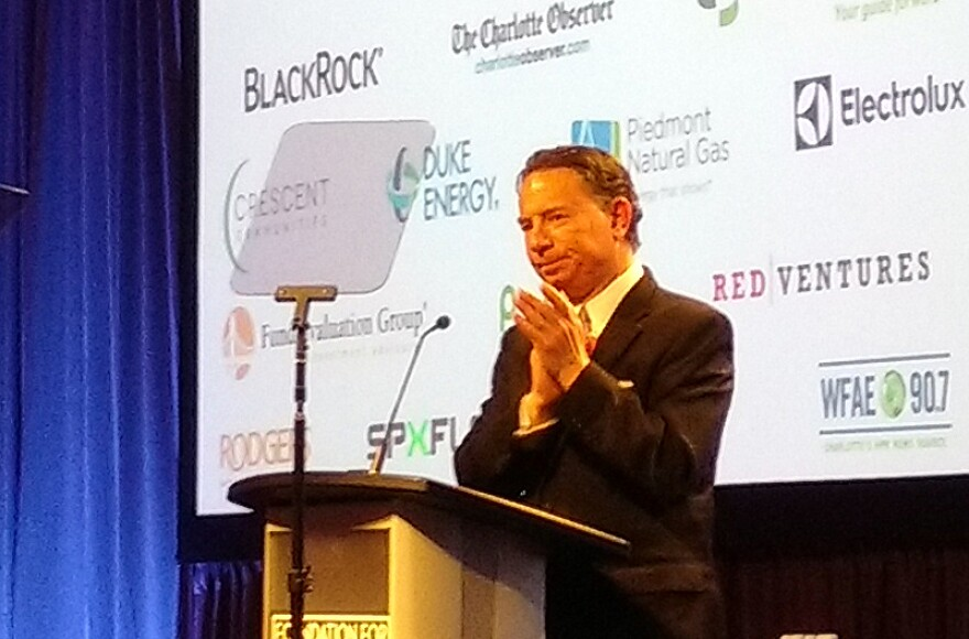 CEO Michael Marsicano speaks at the Foundation for the Carolinas annual meeting Tuesday. About 1,500 people attended the lunch at the Charlotte Convention Center.