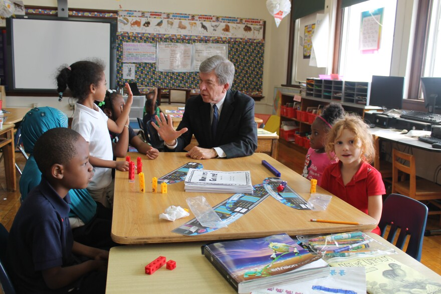 Blunt visited a St. Louis school in September to emphasize his support for education.