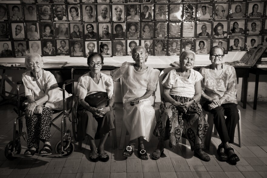 "Remedios Tecson (from left), sisters Estela Adriatico and Narcisa Claveria, Felicidad delos Reyes and Estelita Dy were teens when they were sexually enslaved. Many of the estimated 1,000 Filipinas who served as ""comfort women"" died of injuries or illness. Survivors suffered from post-traumatic stress disorder. Many went on to marry but said their wartime experiences made them societal outcasts."