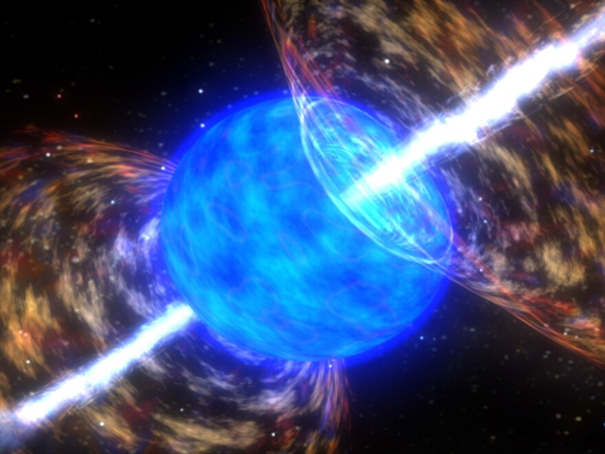 Gamma ray bursts are beams of high-energy particles that shoot from the explosions of dying stars.