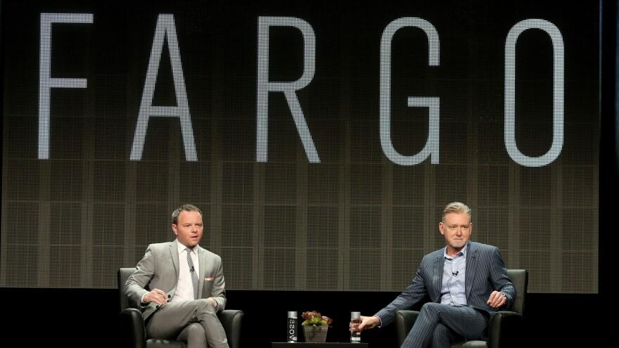Noah Hawley (left) and Warren Littlefield, executive producers of the FX series <em>Farg</em>o, speak at the Television Critics Association's summer press tour.