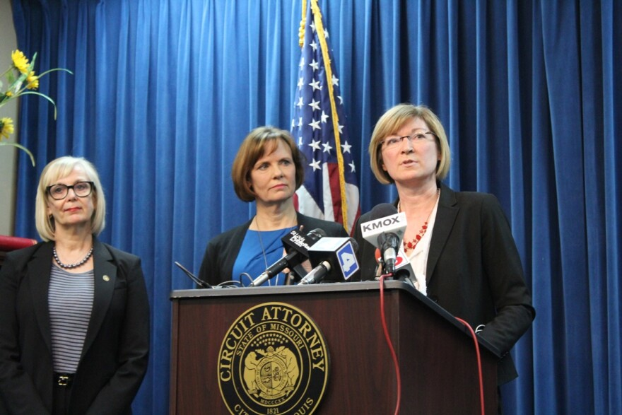 Rep. Stacey Newman (left) and St. Louis circuit attorney Jennifer Joyce (center) listen to Jackson County prosecutor Jean Peters Baker as Baker announces her support for Newman's legislation on February 29, 2016.