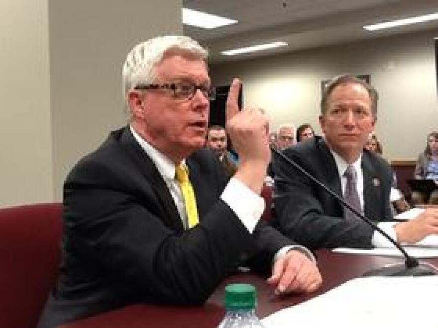 Lt. Gov. Peter Kinder testifies with Sen. Bob Onder in favor of SJR 39.