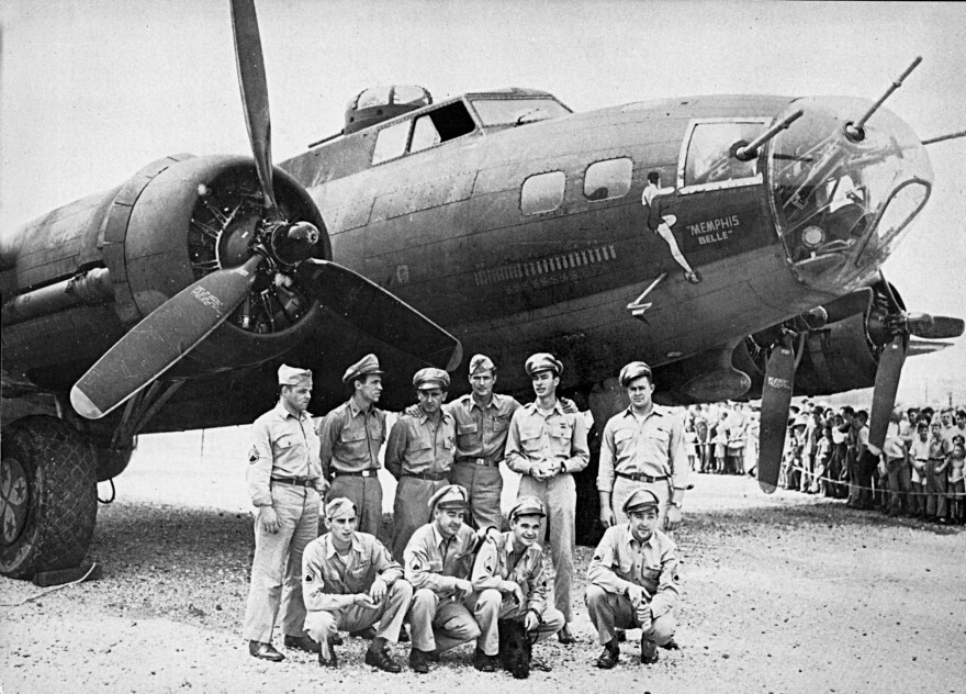 The crew of the Memphis Belle, a Flying Fortress B-17F, poses in front of their plane in 1943, in Asheville, N.C.