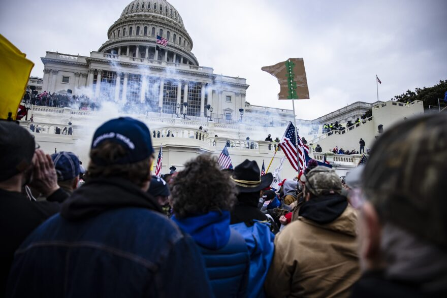 Pro-Trump supporters storm the U.S. Capitol following a rally with former President Donald Trump on Jan. 6, 2021 (Samuel Corum/Getty Images)