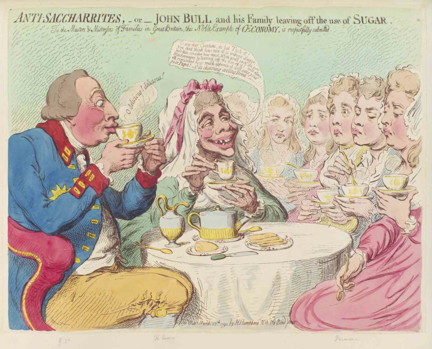<em>Anti-Saccharrites</em>, a caricature by James Gillray from 1792, depicts King George III of England and his wife, Charlotte, drinking tea without sugar and urging their daughters to do the same. At one point, close to 400,000 Britons gave up sugar as part of the anti-slavery boycott.