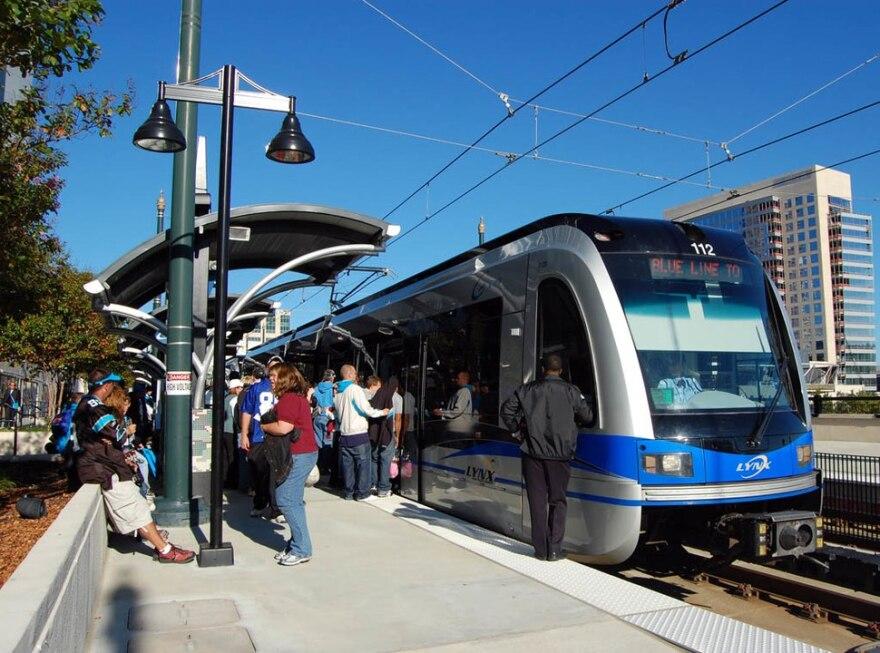 A light rail train in Charlotte, NC
