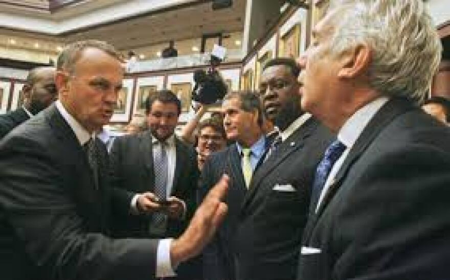 Richard Corcoran (left), speaker of the Florida House, has raised the specter of a special session at the legislature.