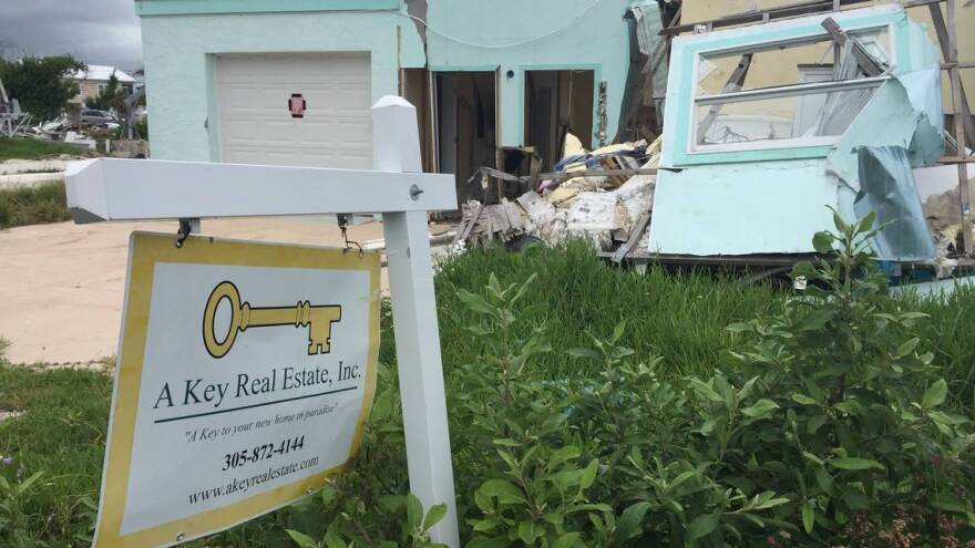 Hurricane Irma destruction in Big Pine Key, FL.